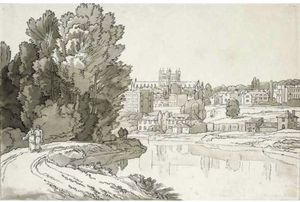 John White Abbott - HAVEN BANK, EXETER; EXETER CATHEDRAL FROM THE HAVEN BANK