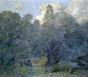 Julian Alden Weir - Landscape with Stone Wall, Windham