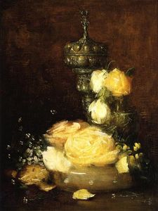 Julian Alden Weir - Silver Chalice with Roses