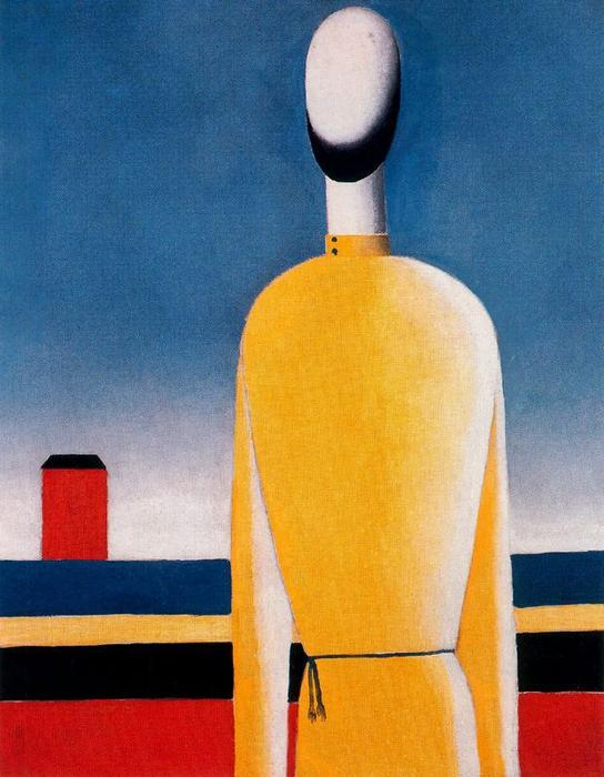 Complex Presentiment. Half-Figure in a Yellow Shirt by Kazimir Severinovich Malevich (1878-1935, Ukraine) | Oil Painting | WahooArt.com
