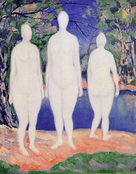 Female bathers, Oil by Kazimir Severinovich Malevich (1878-1935, Ukraine)
