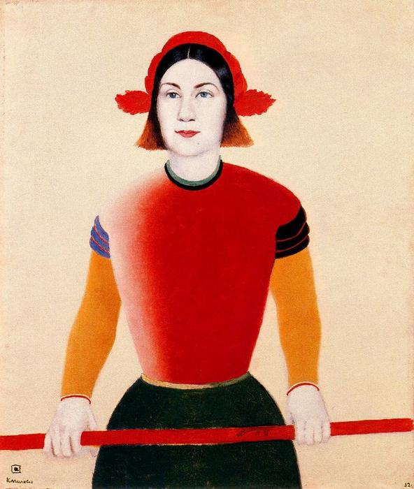 Girl with a Red Staff by Kazimir Severinovich Malevich (1878-1935, Ukraine) | Oil Painting | WahooArt.com