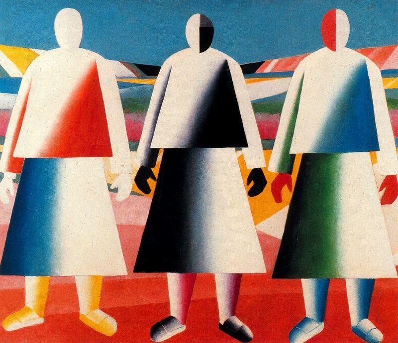 Girls in the Field by Kazimir Severinovich Malevich (1878-1935, Ukraine) | Famous Paintings Reproductions | WahooArt.com