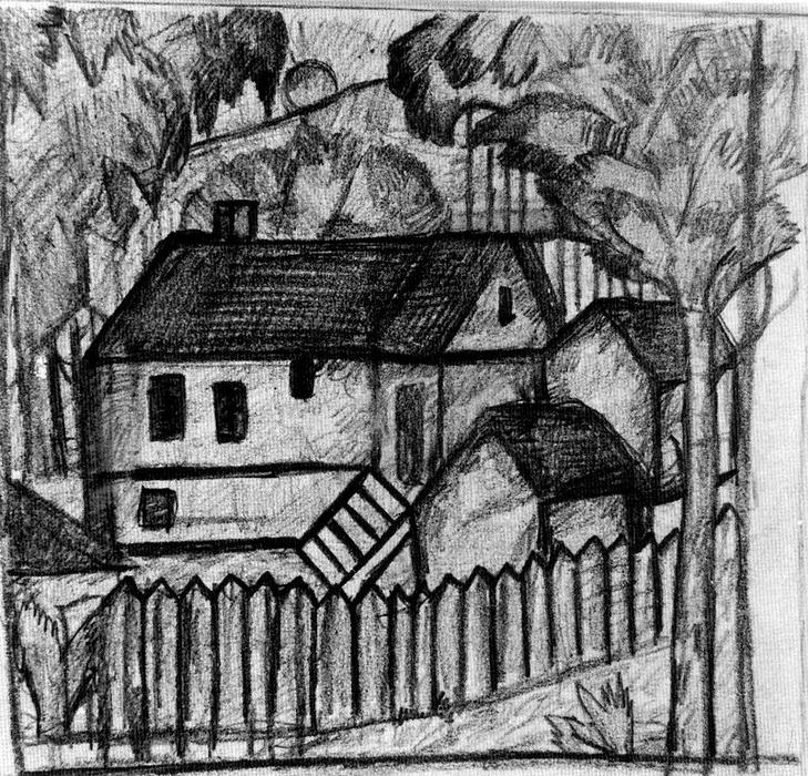 Houses by Kazimir Severinovich Malevich (1878-1935, Ukraine) | Art Reproduction | WahooArt.com