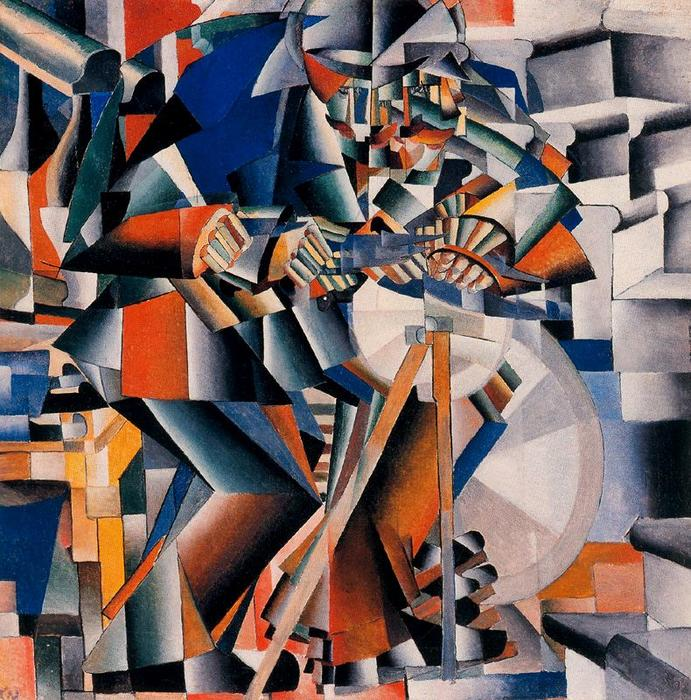 Knife Grinder - Principle of Flickering by Kazimir Severinovich Malevich (1878-1935, Ukraine) | Famous Paintings Reproductions | WahooArt.com