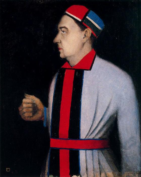 Male Portrait, Oil by Kazimir Severinovich Malevich (1878-1935, Ukraine)