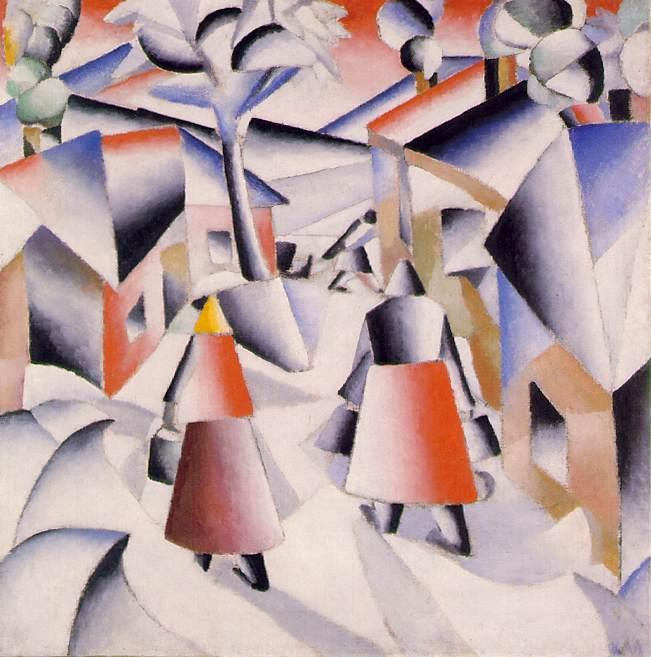 Morning in the Country after Snowstorm, Oil by Kazimir Severinovich Malevich (1878-1935, Ukraine)