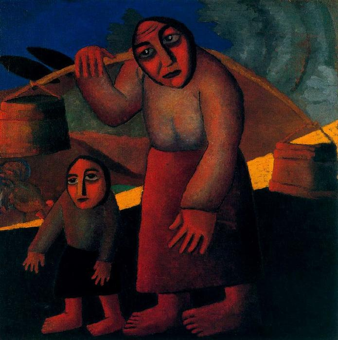 Peasant Woman with Buckets and Child by Kazimir Severinovich Malevich (1878-1935, Ukraine) | Oil Painting | WahooArt.com