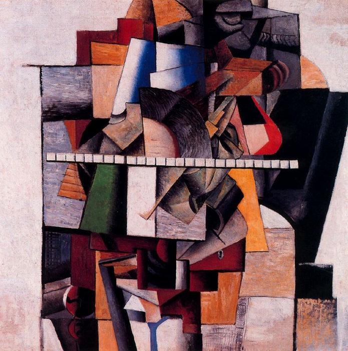 Portrait of the Composer M. V. Maliushin by Kazimir Severinovich Malevich (1878-1935, Ukraine) | Oil Painting | WahooArt.com