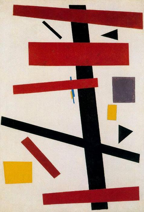 Suprematism 4, Oil by Kazimir Severinovich Malevich (1878-1935, Ukraine)