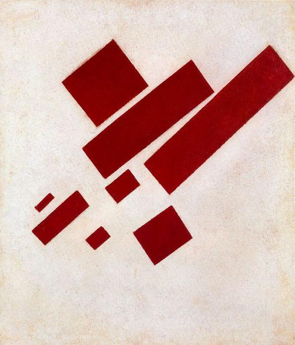 Suprematist Painting. Eight Red Rectangle, Oil by Kazimir Severinovich Malevich (1878-1935, Ukraine)