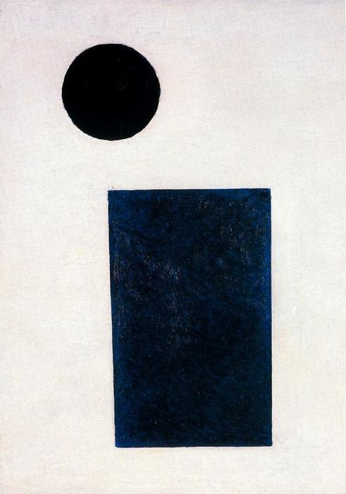 Suprematist Painting. Rectangle and Circle, Oil by Kazimir Severinovich Malevich (1878-1935, Ukraine)