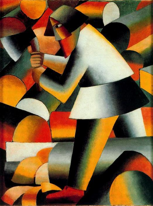 The Woodcutter, Oil by Kazimir Severinovich Malevich (1878-1935, Ukraine)