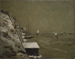 Robert Henri - East River Embankment, Winter