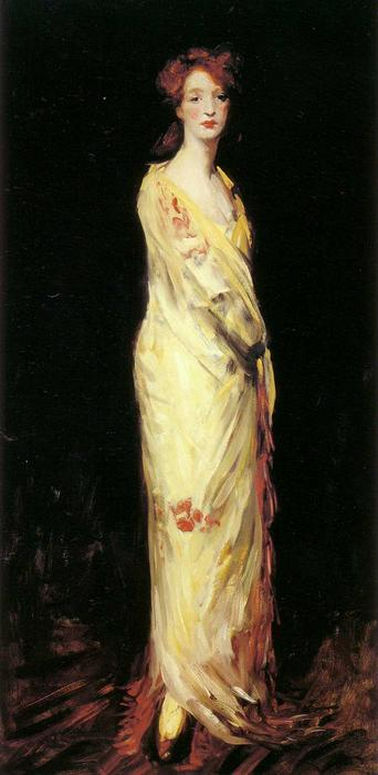 Marjorie in a Yellow Shawl, Oil by Robert Henri (1865-1929, United States)
