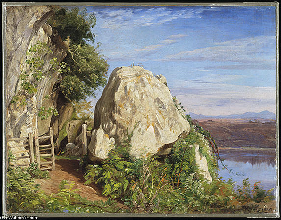 A Sheep Cote on Lake Albano by Thomas Worthington Whittredge (1820-1910, United States) | Reproductions Thomas Worthington Whittredge | WahooArt.com