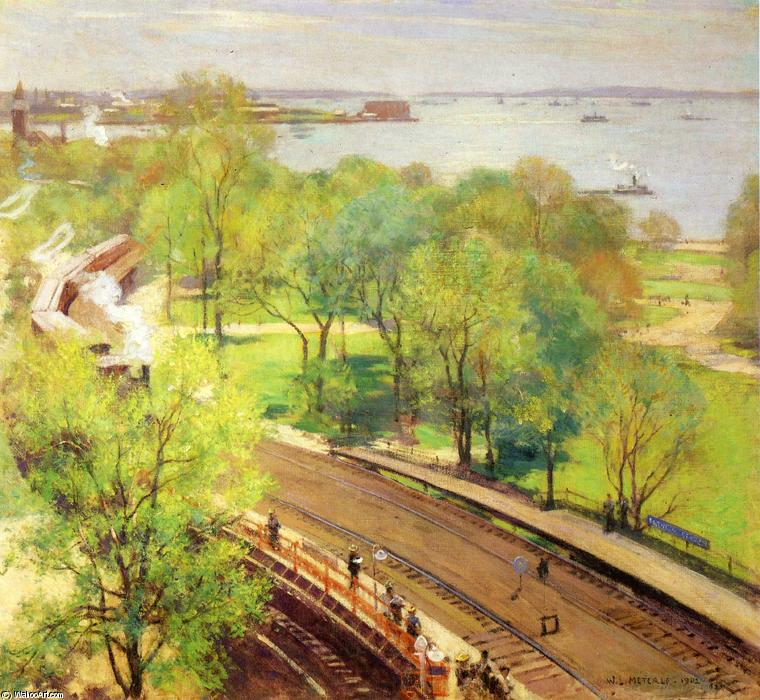Battery Park - Spring by Willard Leroy Metcalf (1858-1925, United States) | Oil Painting | WahooArt.com