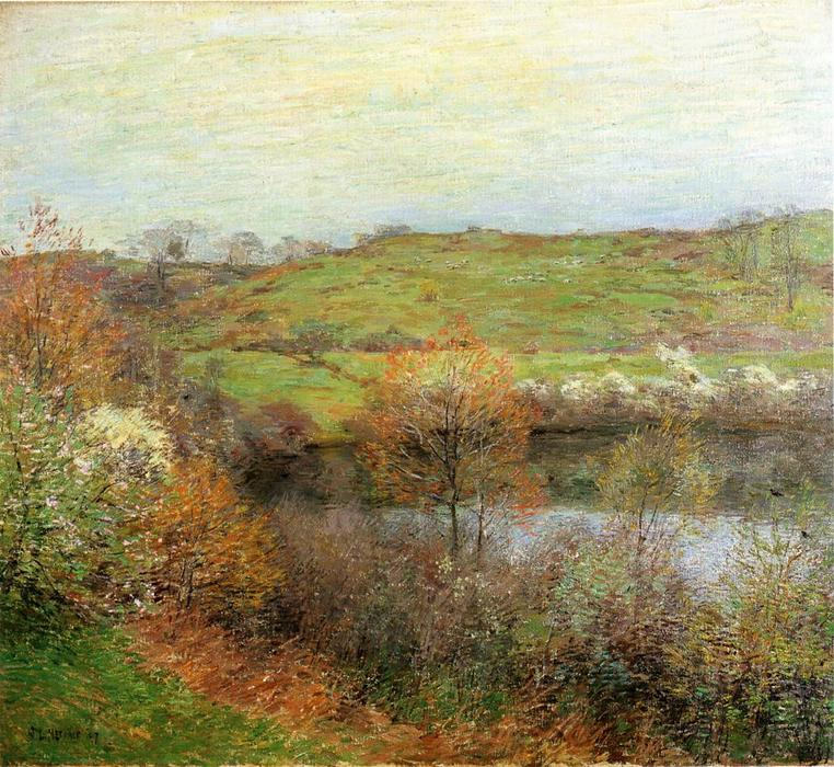 Buy Museum Art Reproductions | Buds And Blossoms by Willard Leroy Metcalf (1858-1925, United States) | WahooArt.com