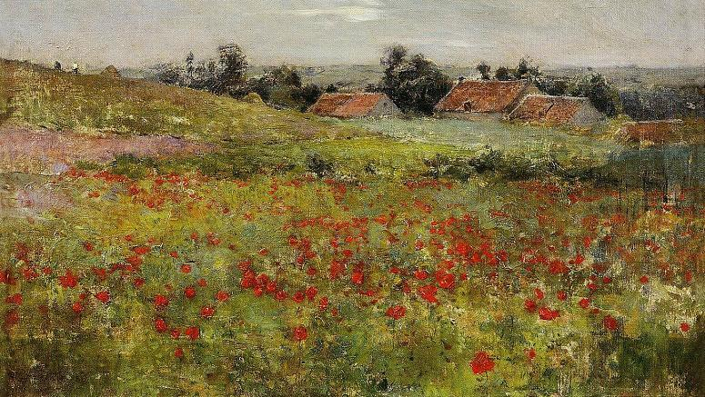 Order Museum Quality Reproductions : Poppy Field, Giverny by Willard Leroy Metcalf (1858-1925, United States) | WahooArt.com