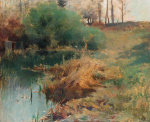 Willard Leroy Metcalf - Spring Study of Reeds in Chadwick's Garden at Grèz