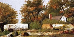 William Aiken Walker - Autumn Scene In The Woods Of North Carolina With House And Stacks Of Wood