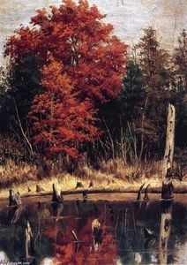 William Aiken Walker - Autumn Wood In North Carolina With Tree Stumps In Water