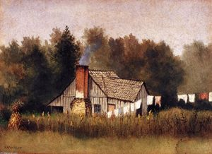 William Aiken Walker - Cabin Viewed From Rear With Wash Line