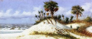 William Aiken Walker - Florida Sand Dunes with Two Palm Trees