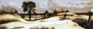 William Aiken Walker - Florida Seascape with Sand Dune, Palm Tree, and Yuccas