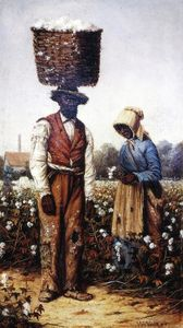 William Aiken Walker - Negro Couple in Cotton Field, Woman with Yellow Bonnet
