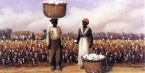 William Aiken Walker - Negro Man And Woman In Cotton Field With Baskets Of Cotton 1
