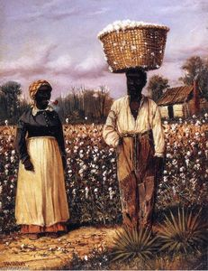 William Aiken Walker - Negro Man And Woman In Cotton Field With Cotton Baskets 1