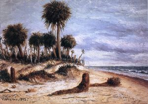 William Aiken Walker - Palm Trees on the Beach at Fort Walton