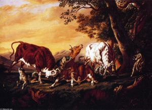 William Aiken Walker - Wolves Attacking Cattle
