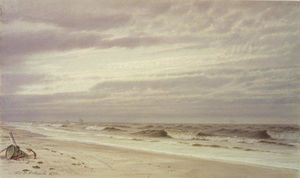 William Trost Richards - Beach Scene with Barrel and Anchor