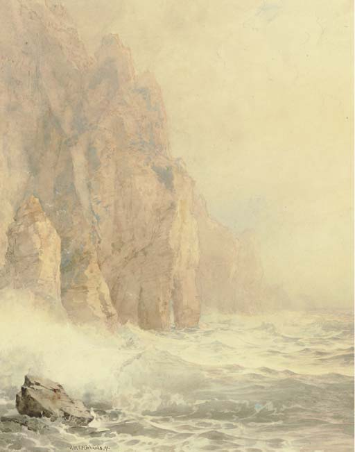 Cathedral Rocks, Achill Island, Ireland by William Trost Richards (1833-1905, United States) | Reproductions William Trost Richards | WahooArt.com