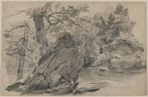 William Trost Richards - Landscape with rocky outcroppings and brook