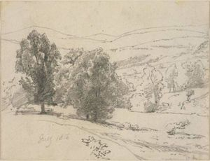 William Trost Richards - Landscape with trees and hills