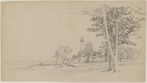 William Trost Richards - Lighthouse seen through trees