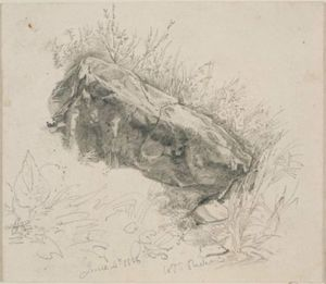 William Trost Richards - Overhanging rock with grasses