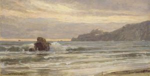 William Trost Richards - Rocky Coastline at Sunset