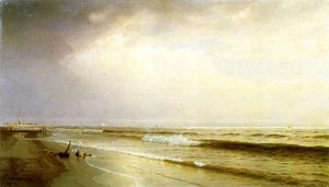 William Trost Richards - Seascape with Distant Lighthouse, Atlantic City, New Jersey