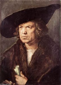 Albrecht Durer - Portrait Of A Man With Baret And Scroll
