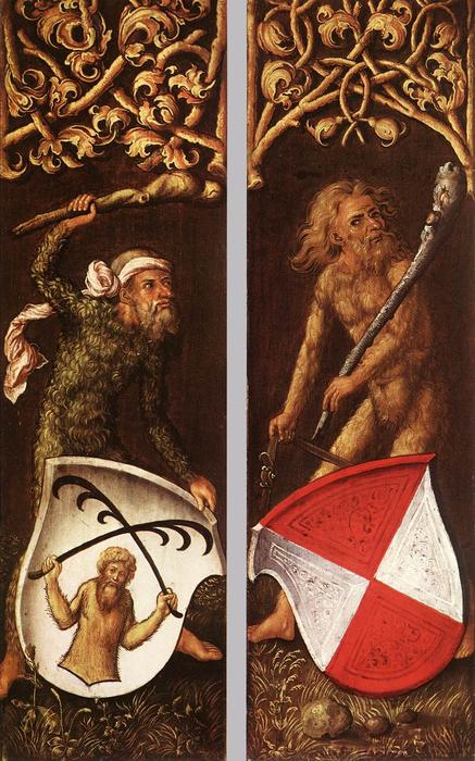 Sylvan Men with Heraldic Shields, Oil by Albrecht Durer (1471-1528, Italy)
