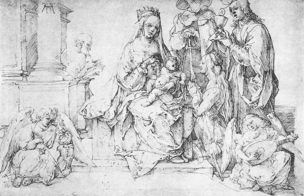 The Virgin with Two Angels and Four Saints, 1521 by Albrecht Durer (1471-1528, Italy) | Art Reproduction | WahooArt.com