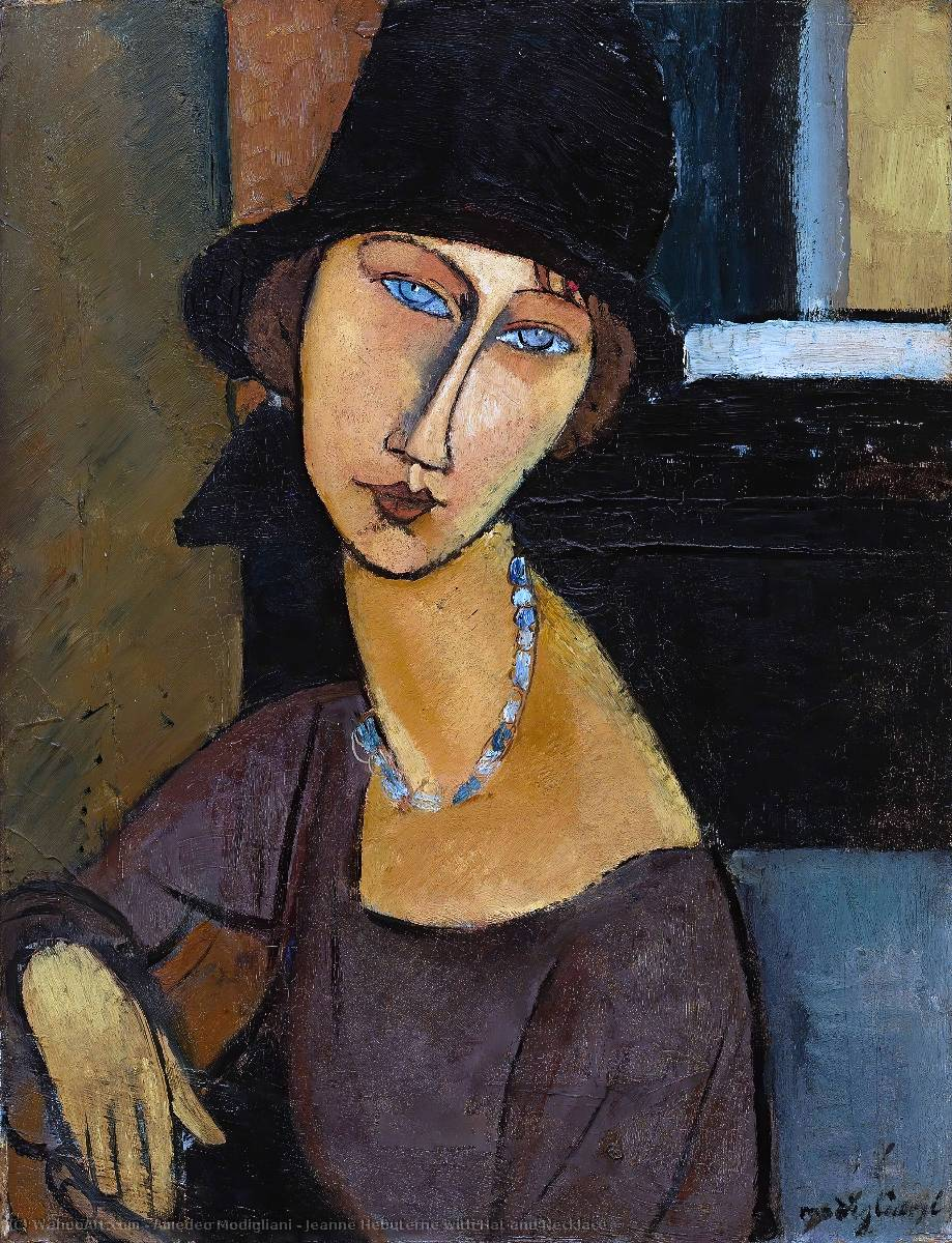 jeanne hebuterne with hat and necklace oil on canvas by