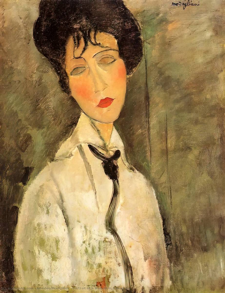 Order Art Reproductions | Portrait of a Woman in a Black Tie, 1917 by Amedeo Modigliani (1884-1920, Italy) | WahooArt.com