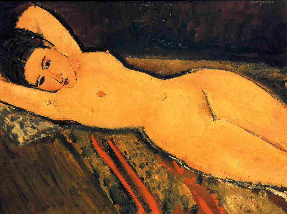 Reclining Nude, Arms Folded under Her Head, 1916 by Amedeo Modigliani (1884-1920, Italy) | Painting Copy | WahooArt.com