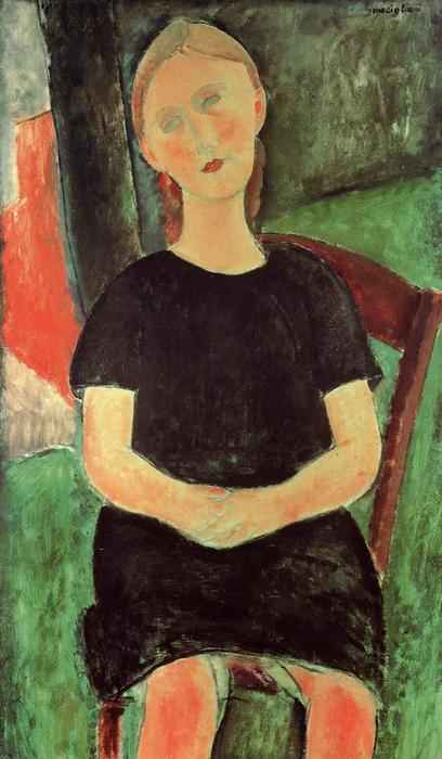 Seated Young Woman, Oil On Canvas by Amedeo Modigliani (1884-1920, Italy)
