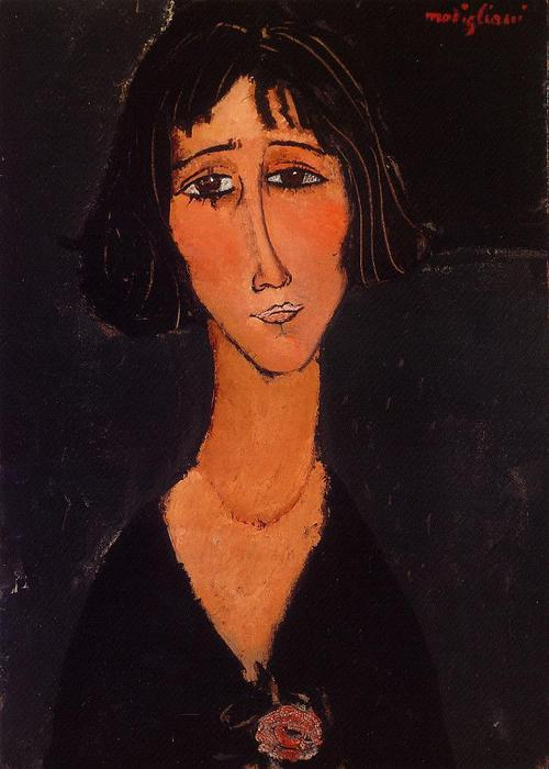 Young Girl Wearing a Rose, Oil On Canvas by Amedeo Modigliani (1884-1920, Italy)
